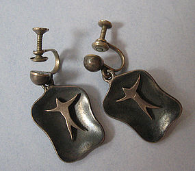 Mexican Modernist Sterling Drop Earrings, c. 1955