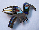 Sterling and Enamel Bird Pin, c. 1960