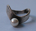 'Phyllis' Sterling and Pearl Ring, c. 1970