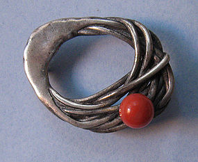 'Phyllis' Sterling and Coral Pin, c. 1960