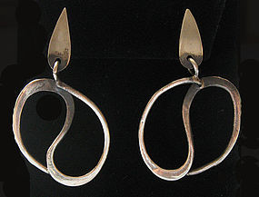 Handmade Sterling Modernist Earrings, c. 1960