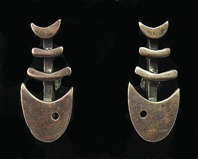 Modernist Sterling Fish Earrings, c. 1965