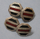 Art Deco Sterling and Enamel Cuff Links, c. 1925