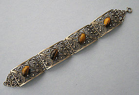 Sterling and Tiger's Eye Bracelet, c. 1945