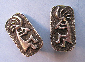 Navajo Sterling Clip Earrings, c. 1975