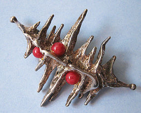 Silver and Bead Pin/Pendant, c. 1965