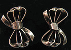 Sterling Bow Earrings, c. 1950