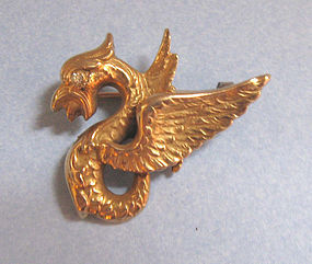 American 14-kt Gold Griffin Pin, c. 1900