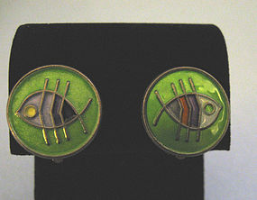 Pair of Sterling and Enamel Fish Earrings, c. 1960