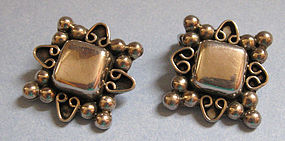 Mexican Sterling Silver Earrings, c. 1960