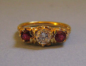 Three-Stone 18 kt Ruby and Diamond Ring, c. 1920