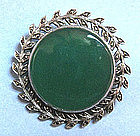 Sterling Marcasite and Chrysoprase Pin, c. 1940