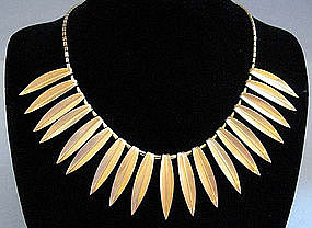 Gold-Plated Leaf Necklace by Krementz, c. 1950