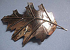 Sterling Silver Large Leaf Pin, c. 1970