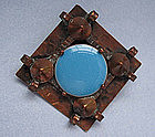 French Handmade Copper Arts and Crafts Pin, c. 1930