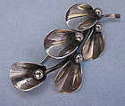 Sterling Leaf and Berry Pin by N.E. From, c. 1960