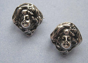 Art Nouveau Sterling Pins by Unger Bros., c. 1900