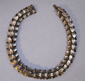 Silver-plated Leaf Necklace by Rebajes, c. 1955