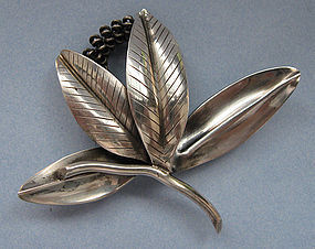 Danish Sterling Bulrush Pin, Michelsen, c. 1955