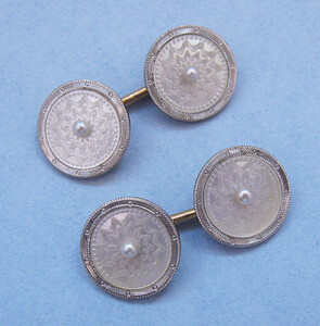 Mother-of-Pearl and Gold Cuff Links, c. 1920