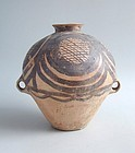 Large Chinese Neolithic Machang Painted Pottery Jar c. 2300 - 2000 BC