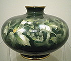 Ando Jubei  Green Grape Cloisonne Vase