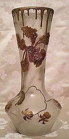 Mont Joye Cameo Glass Vase - Orchids