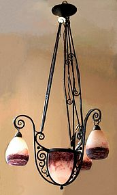 Art deco degue iron and glass chandelier item 1054951 art deco degue iron and glass chandelier aloadofball