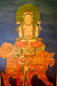 Chinese Scroll Painting of Manjusri