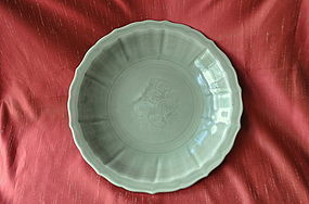 One Large Chinese Celadon Foliated Plate