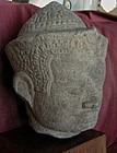 Khmer Sandstone Head of Deity
