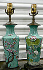 Chinese Famille Rose Vase to Lamp Conversion Pair