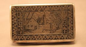 Antique Silver and Niello Snuff,Cigarette snuff Case