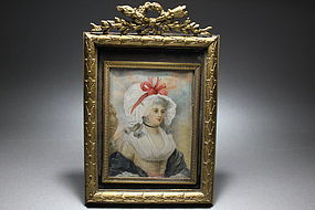 English Portrait Miniature of Georgiana, J Cazel