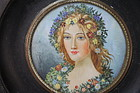 Vintage French Miniature Water Color Painting on Ivory