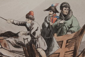 BUONAPARTE'S FLIGHT IN DISGUISE FROM RUSSIA, Dec 1812