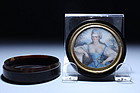 19th C. Tortoise Shell Box w/ Miniature Ivory Portrait,