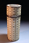 19th C. Ivory Etui w/Miniature Portrait on Ivory,