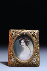 19th C. Italian Miniature Portrait Painting on Ivory,