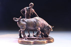 INCREDIBLE BRONZE FIGURE OF BULLFIGHTER,