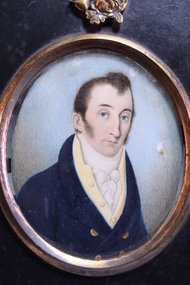 19 TH C.WATERCOLOR ON IVORY, PORTRAIT OF A GENTLEMAN,
