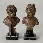 Miniature Pair Continental Bronze Busts of  Children.