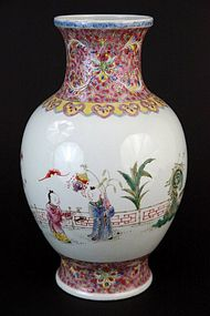 Fine Chinese Enameled Porcelain Famille Rose Vase,
