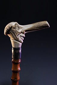 Superb Carved Ivory Handle Cane,
