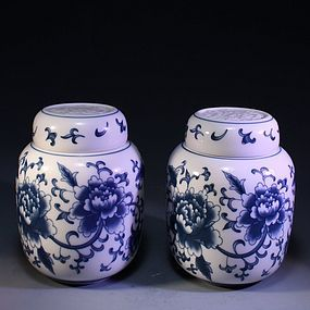 Chinese Pair of Blue & White Lidded Jars