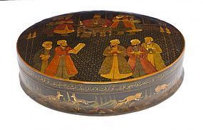 Fine Large Persian Quajar Lacquered Box,