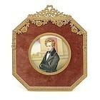 19th C. R. Krauss Miniature Portrait Painting.