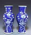 Pair of Chinese Blue and White Enameled Porcelain Vases