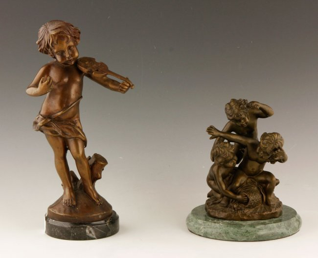 Two 19th C. French Bronzed Sculpture; Children.