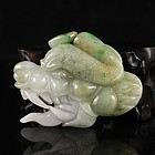 Chinese Natural Jadeite Dragon Head Pendant.